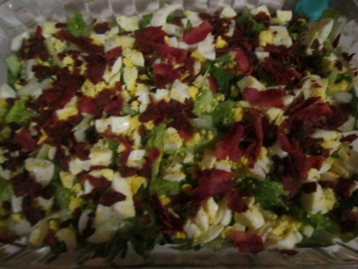 Lettuce, celery, eggs, and bacon so far . . .