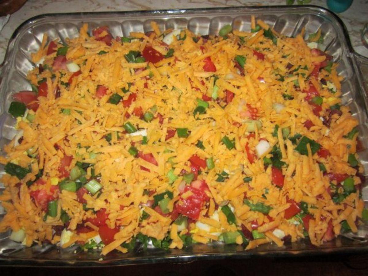Beautiful seven layer salad (plus!)