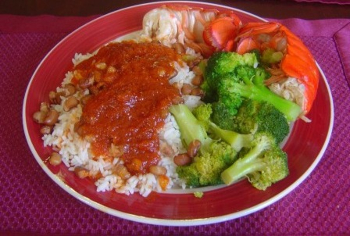 Rice with Broccoli & Lobster. Broccoli always taste better with Mr. Yoshida's Original Gourmet Sauce!