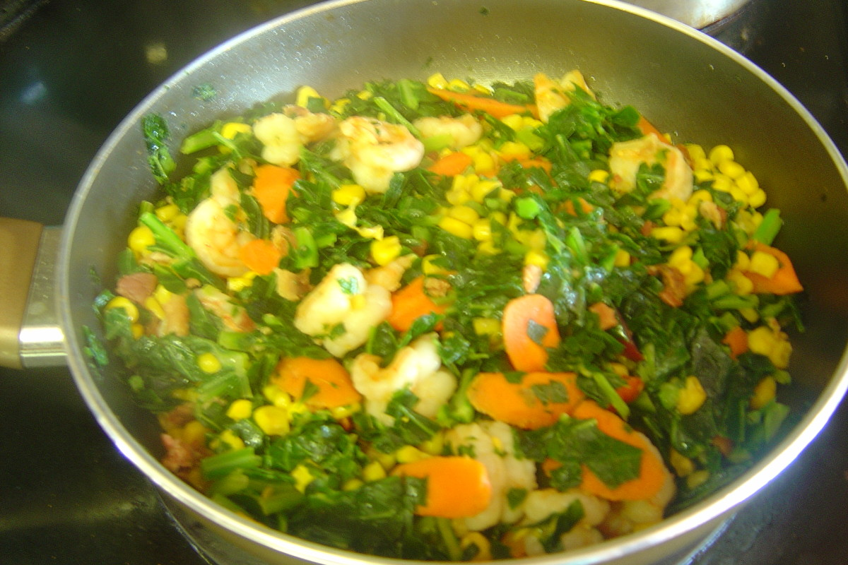 This shrimp, collard greens, peas, corn and carrot mix has been a favorite of my kids since I started sautéing with Mr. Yoshida's Sauce.