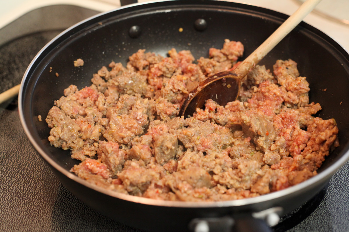 Frying up the italian pork sausage. Ground beef could also be used instead of the pork.