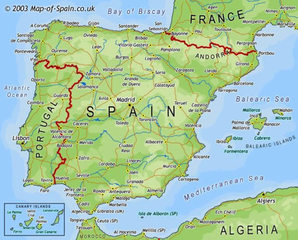 A map of the Iberian Peninsula.