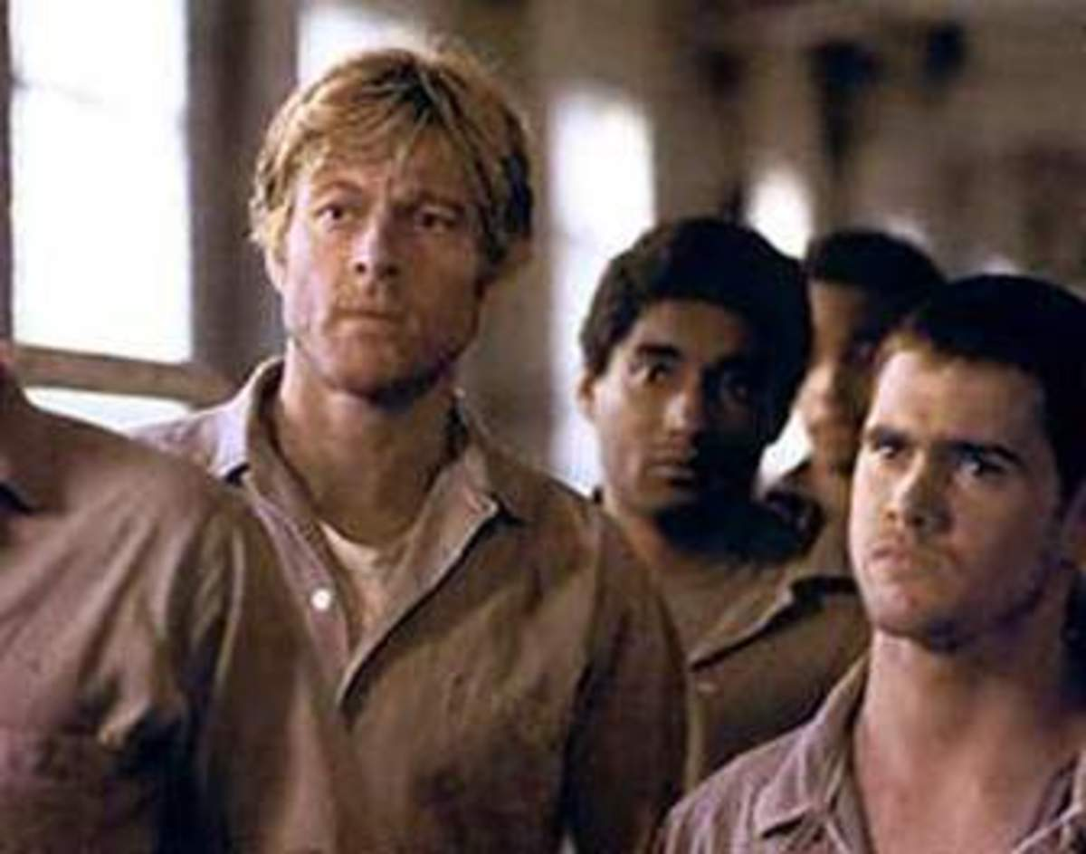 Brubaker as a convict, Robert Redford 'in the rough'.