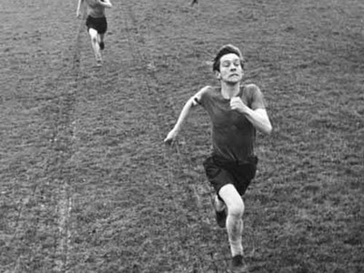 Courtney running towards?  Or running away?