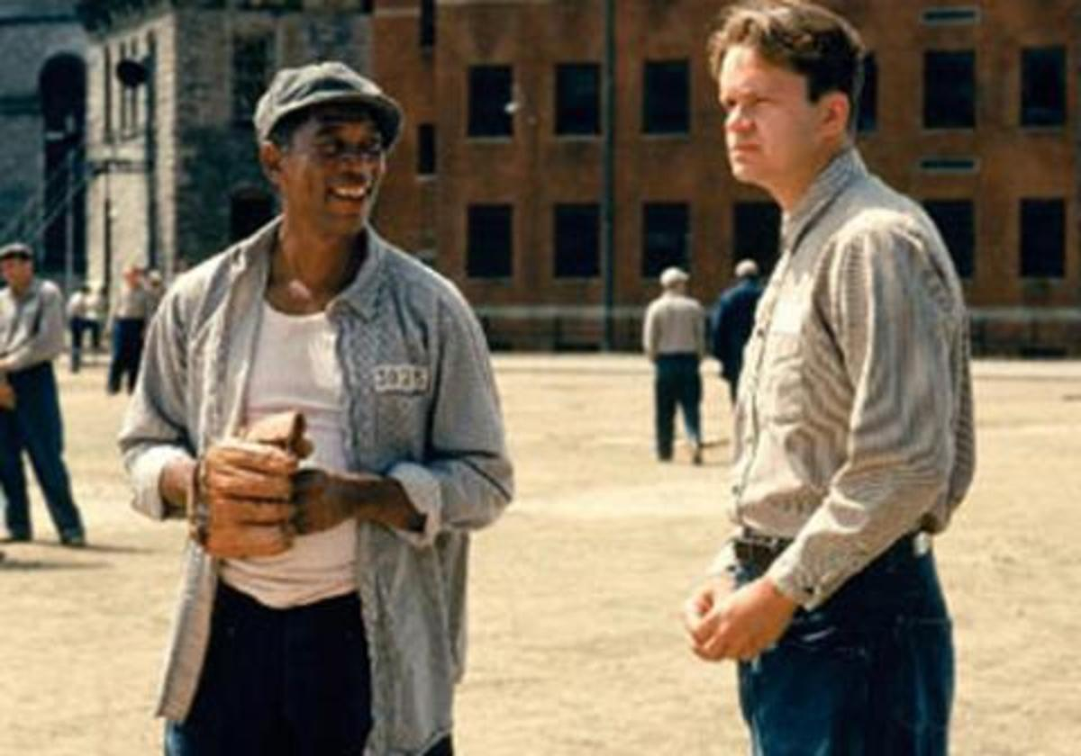 Morgan Freeman and Tim Robbins as Red and Andy