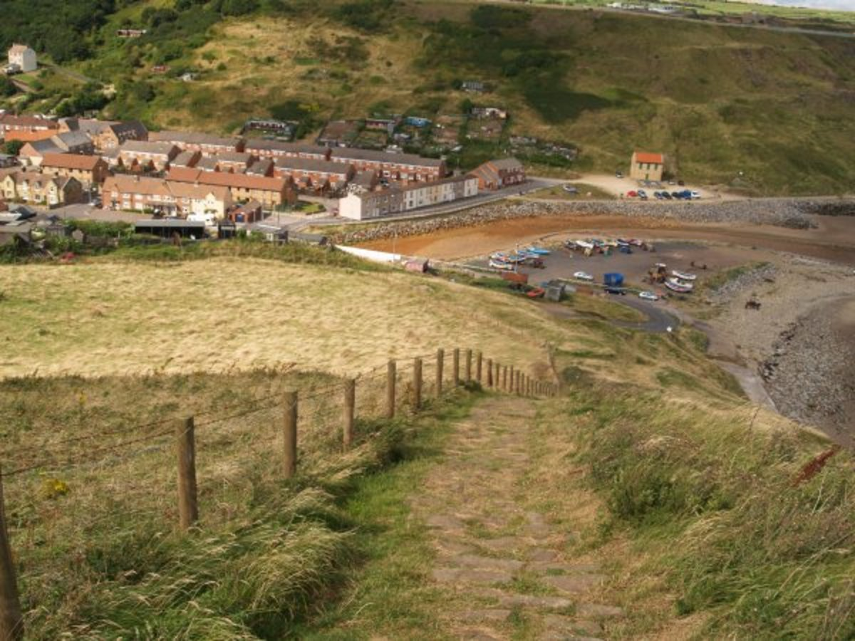 Looking down into the village from the Boulby clifftop footpath. This is another fine walk you might like to tackle - another time, along the Cleveland Way.