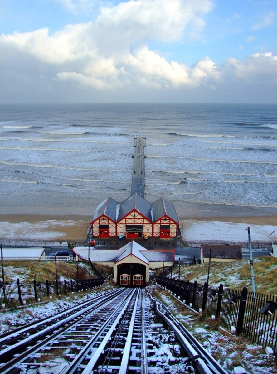 Saltburn cliff lift and pier as it is now at about half its original length - winter scene (don't do the walk in this sort of weather)