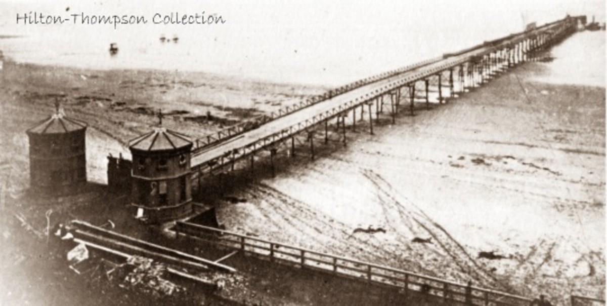 Saltburn pier, 1869 at low tide. At one stage there was a dance floor at the end and a band to play for dancers