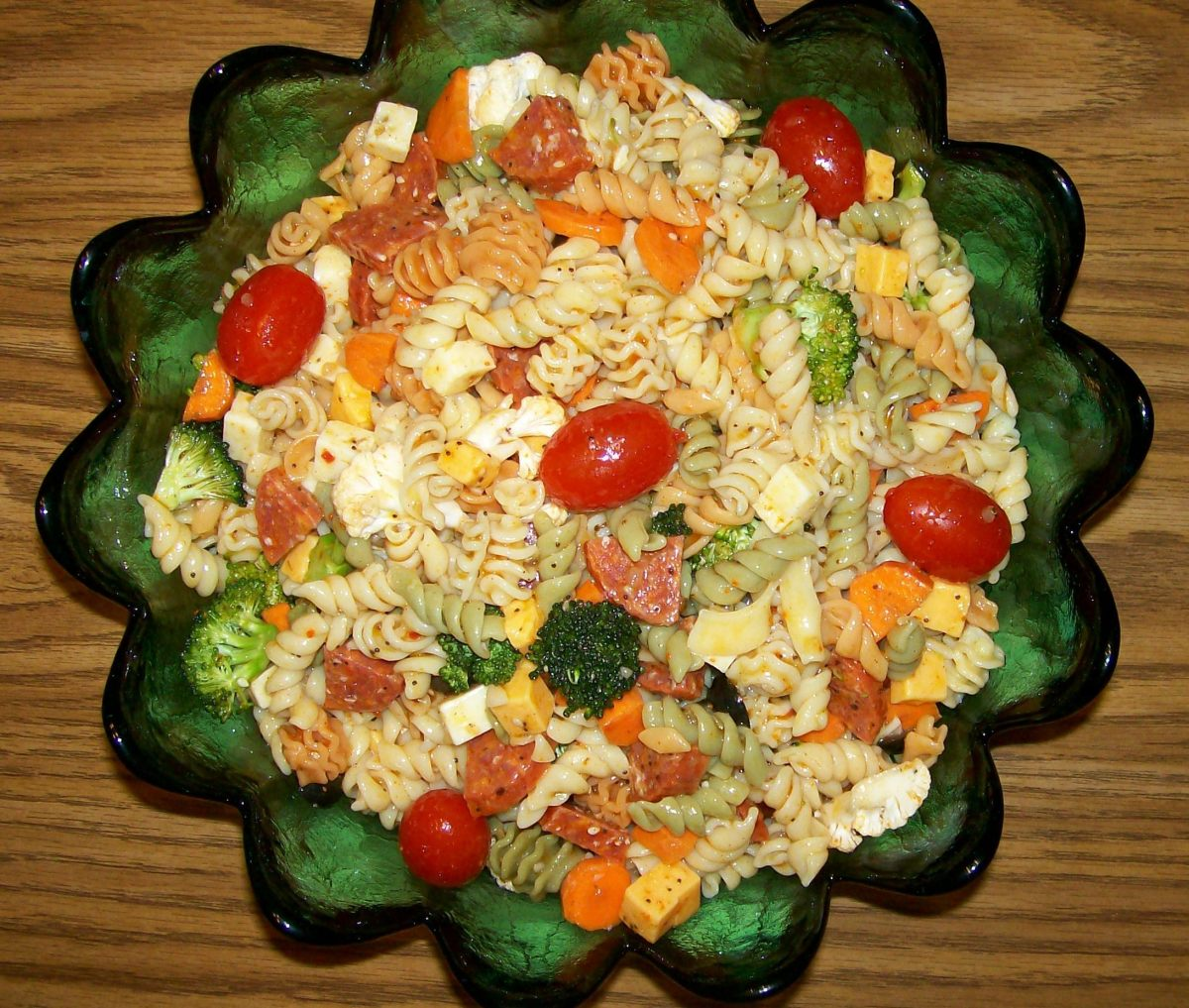 Supreme Pasta Salad has been chilled and ready to serve!