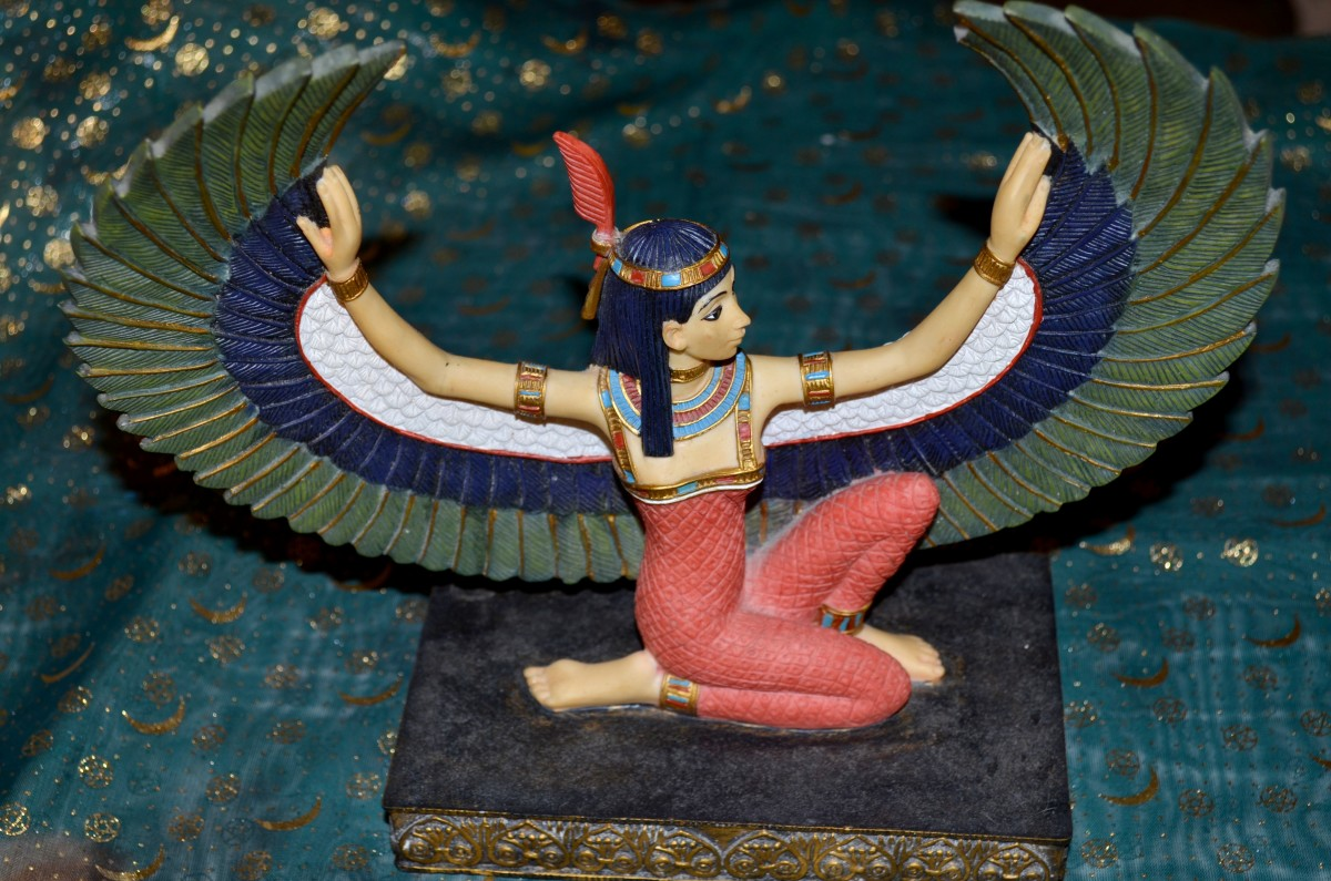 A statue of Maat that can be kept on an altar or other spiritual area.