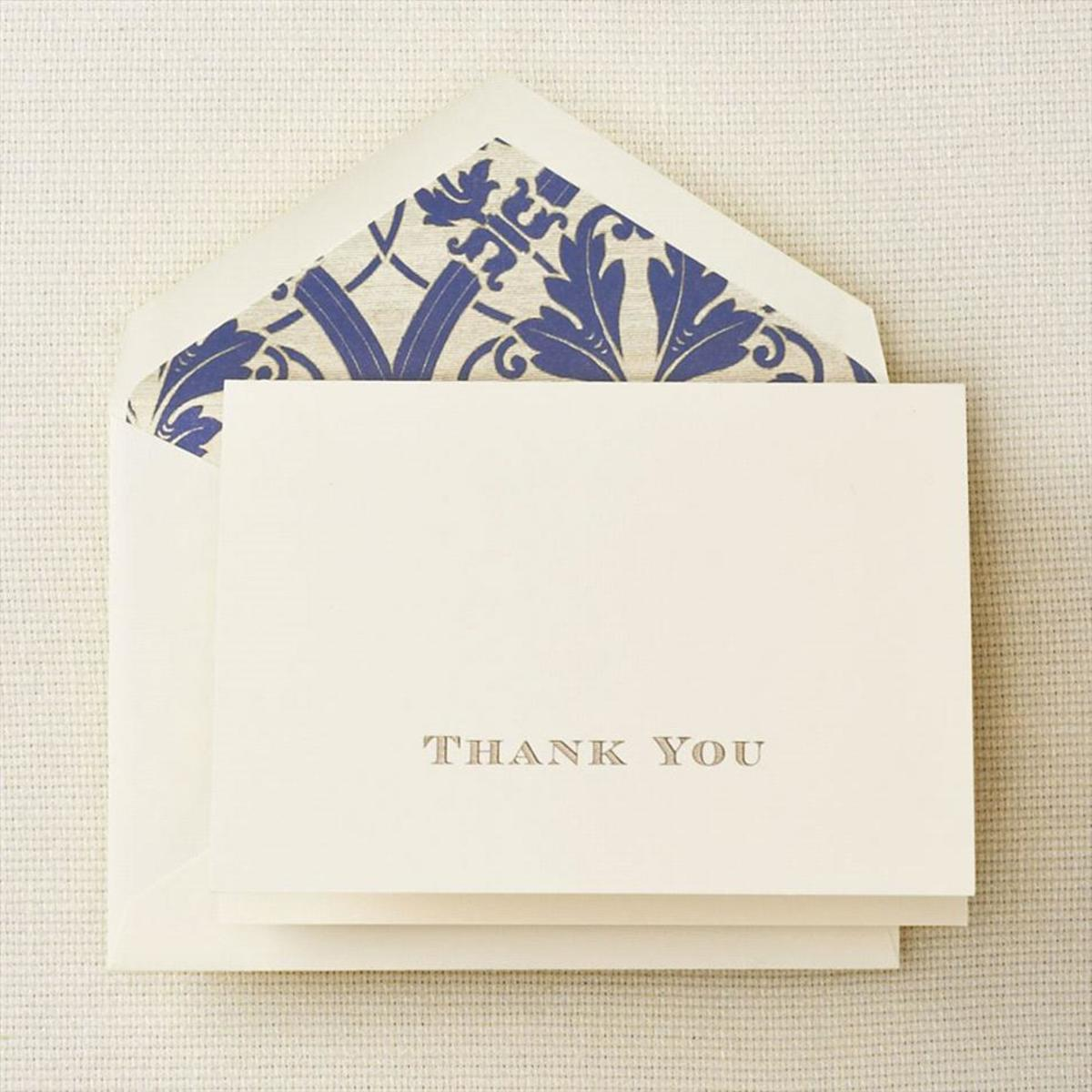 Receiving a thank you note on stationery that feels like fine, crisp linen, will make anyone's day brighter.