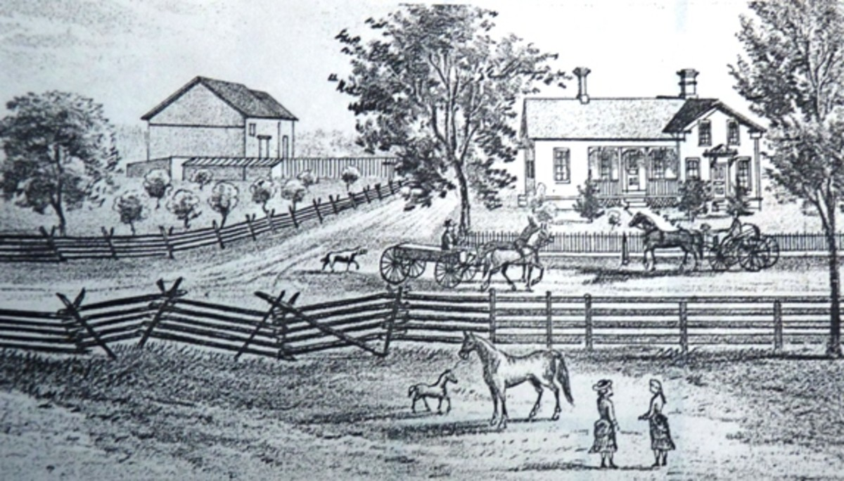 sketch of a typical period farm house