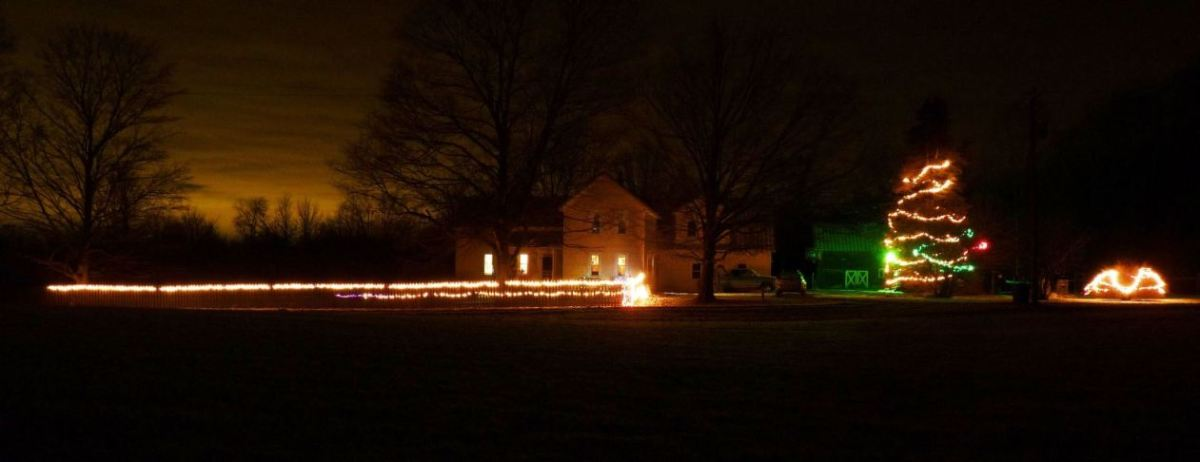 the farm with Christmas lights