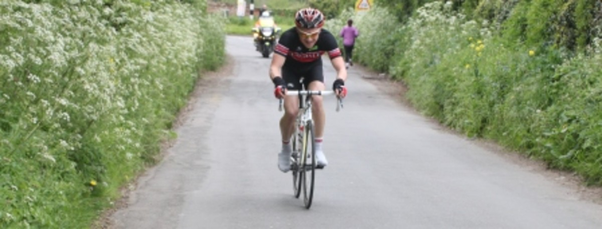 A Langdale Cycles rider climbing in the East Midlands Divisional Road Race 2012.