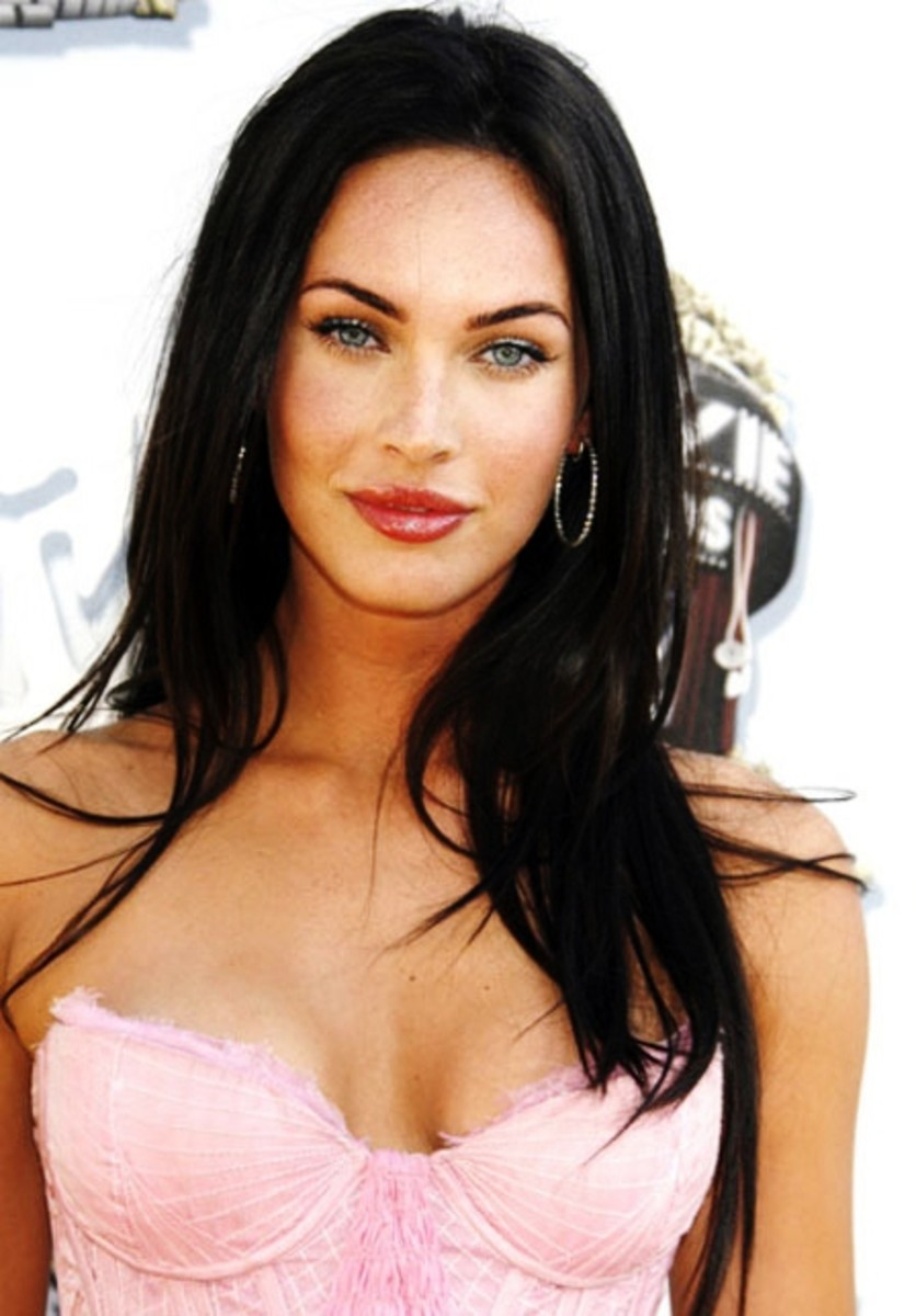 Megan Fox with jet black hair.