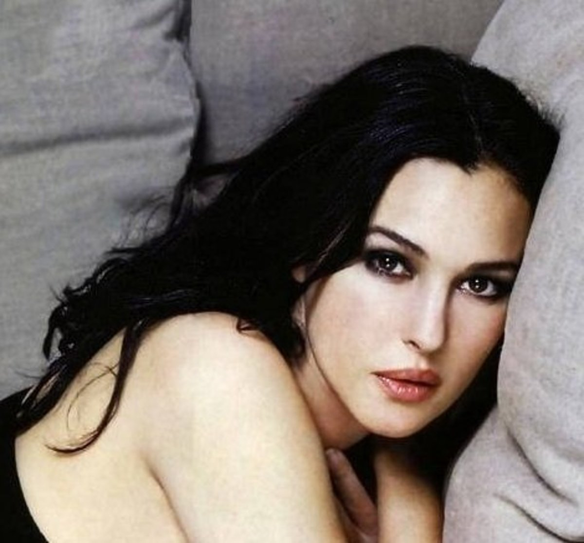 Monica Bellucci with Jet Black Hair Color