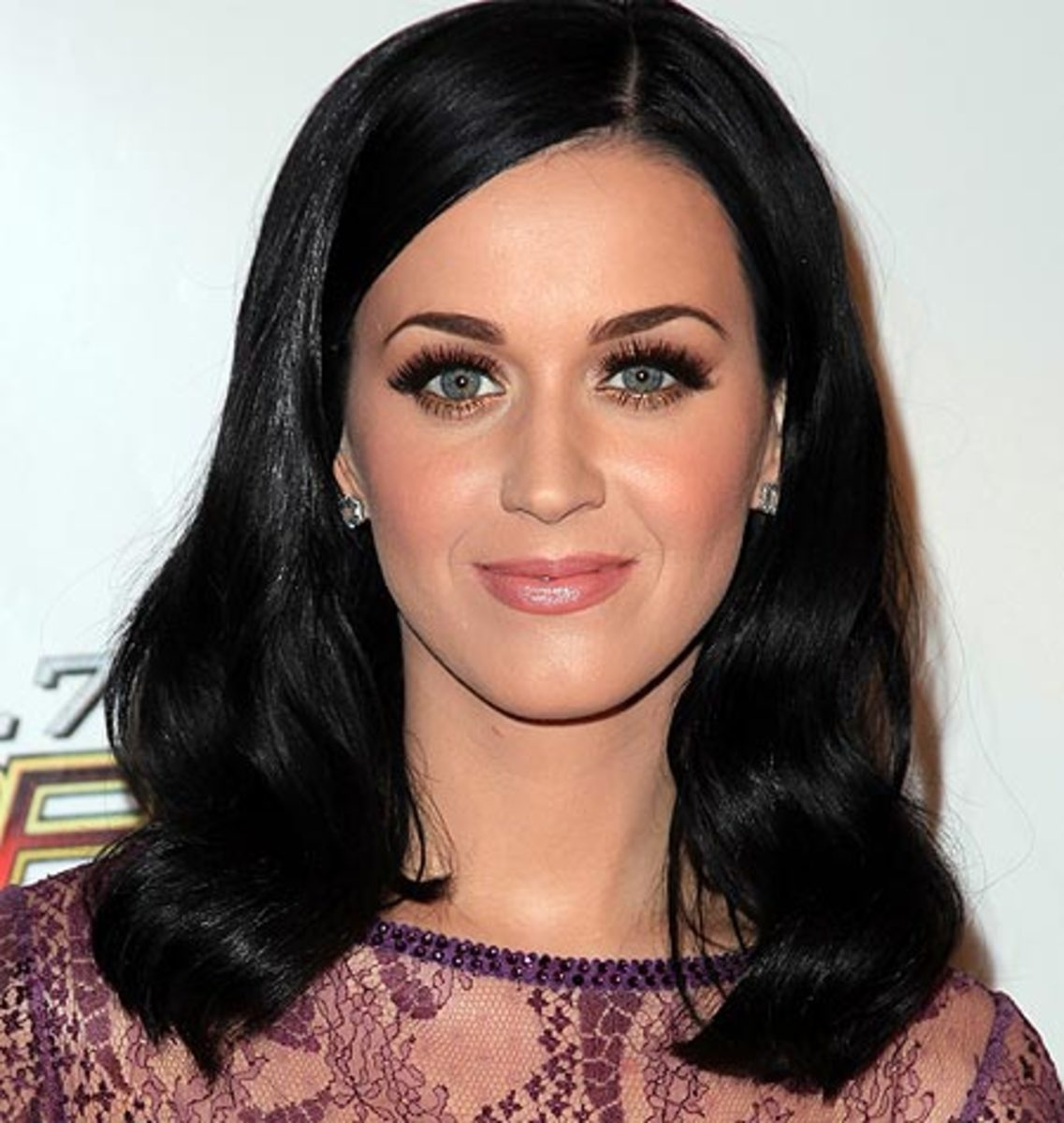 Katy Perry in a purple lace shirt