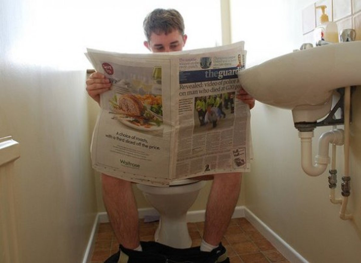 Still reading the good old newspaper on the toilet? Find out what else you can do to help you pass time in the loo.