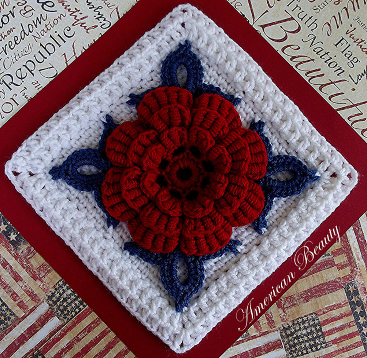 AMERICAN BEAUTY AFGHAN BLOCK by Donna Kay Laceyclose