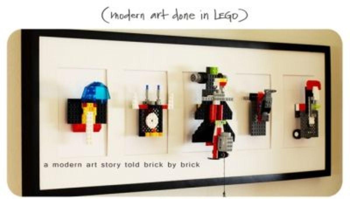 Lego art mounted on wall.