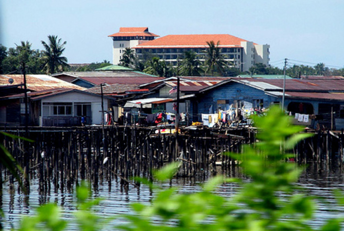 Stilt houses along Kota Kinabalu waterfront