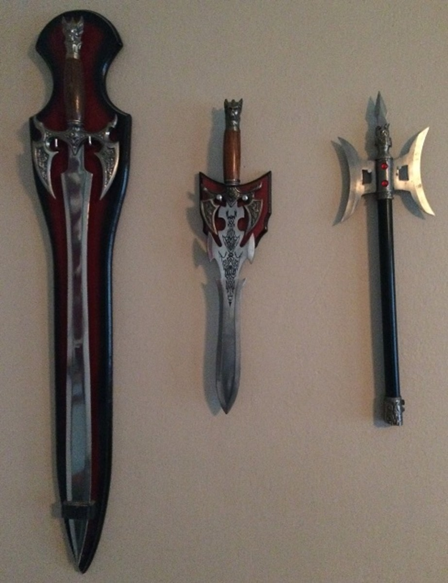 Various weapons mounted to a wall.
