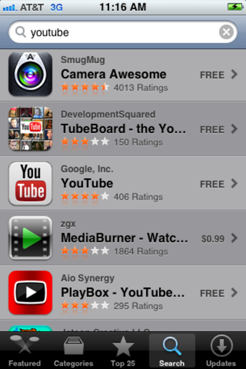 "Tap the ""YouTube"" app developed by Google, Inc. in the list of search results."