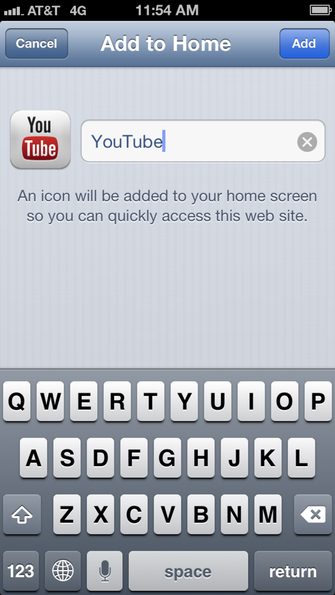 "Tap ""Add."" The name YouTube is automatically populated."