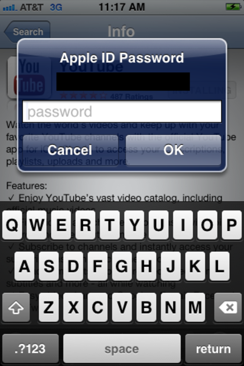 Enter the password associated with your Apple ID in the dialog box that appears.