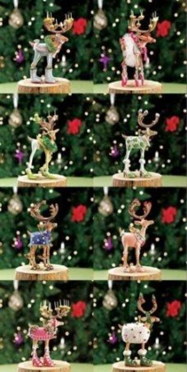 These Reindeer Ornaments Are Part Of The Patience Brewster Krinkles Dash Away Collection.