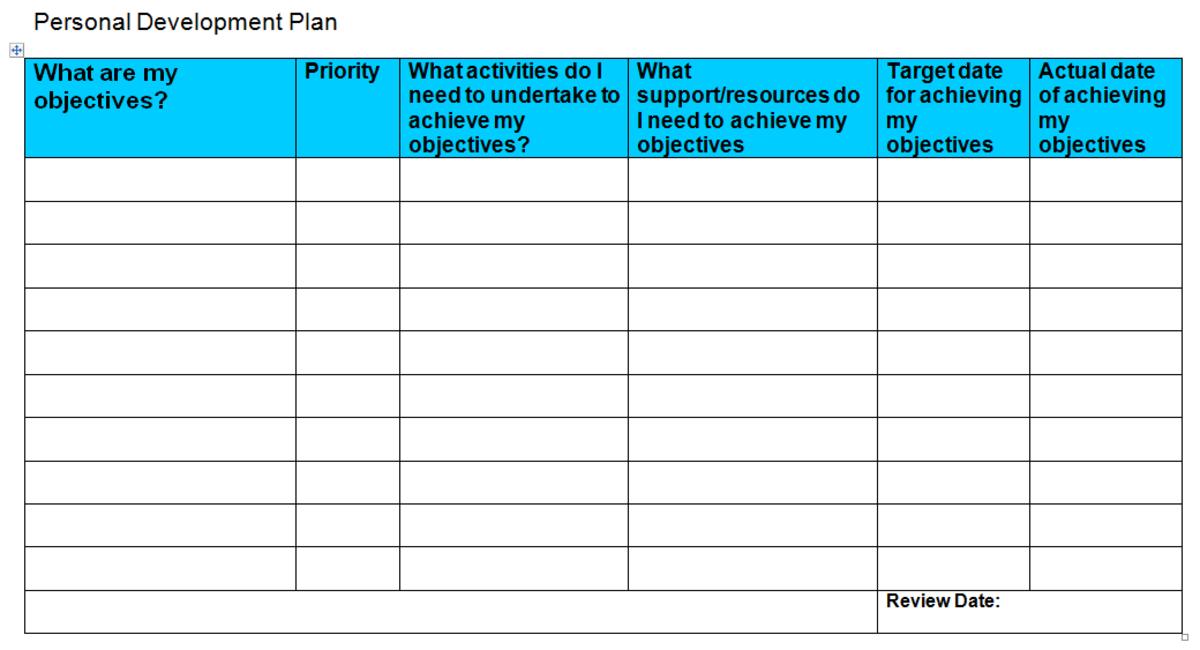 development action plan template – Personal Development Plan Template Excel