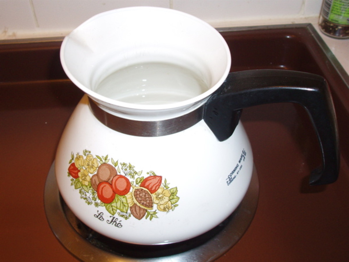 2 cup teapot. To use for potpourri, fill halfway with water and put on stovetop to boil. Add herbs. Put on the lid. Turn heat low. Check every few hours to see if it needs more water.