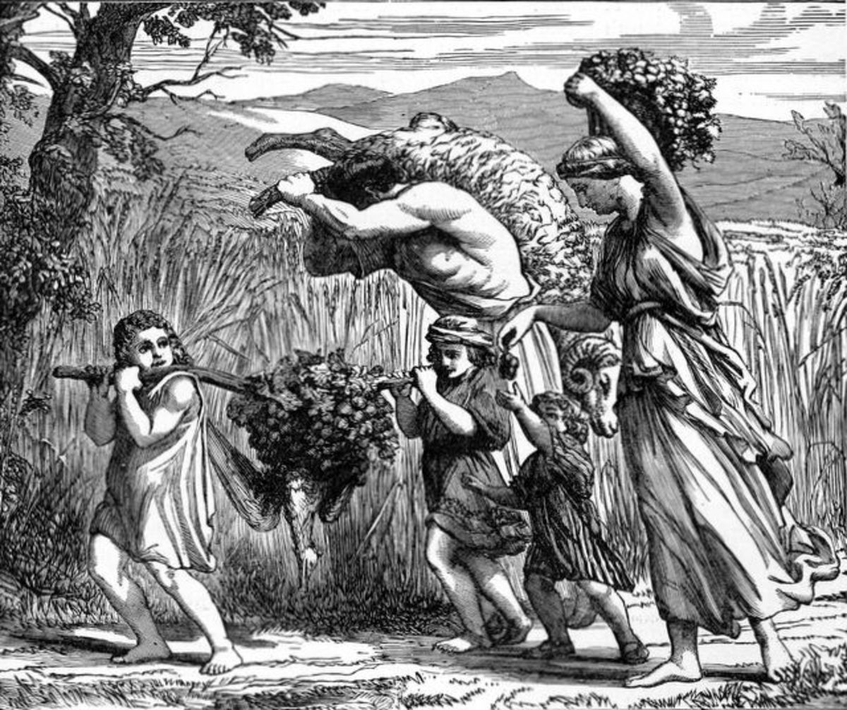 """A Land Flowing with Milk and Honey, illustration from Henry Davenport Northrop's 1894 """"Treasures of the Bible."""""""