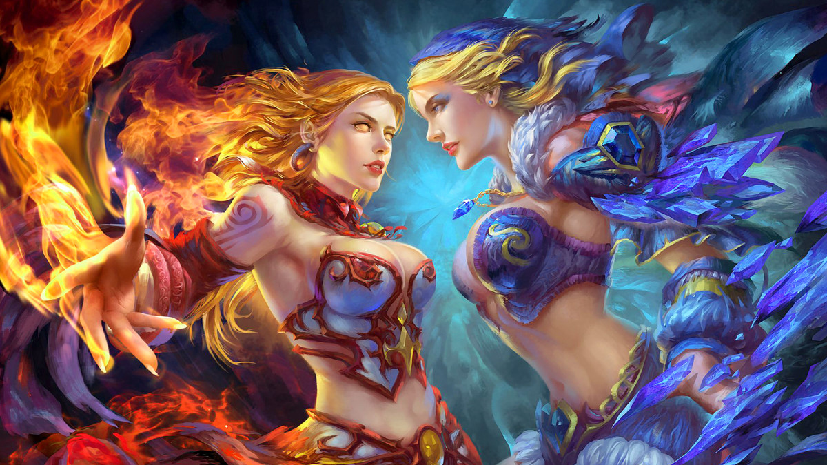 Lina the Slayer and Crystal Maiden  DOTA 2 HD Wallpaper