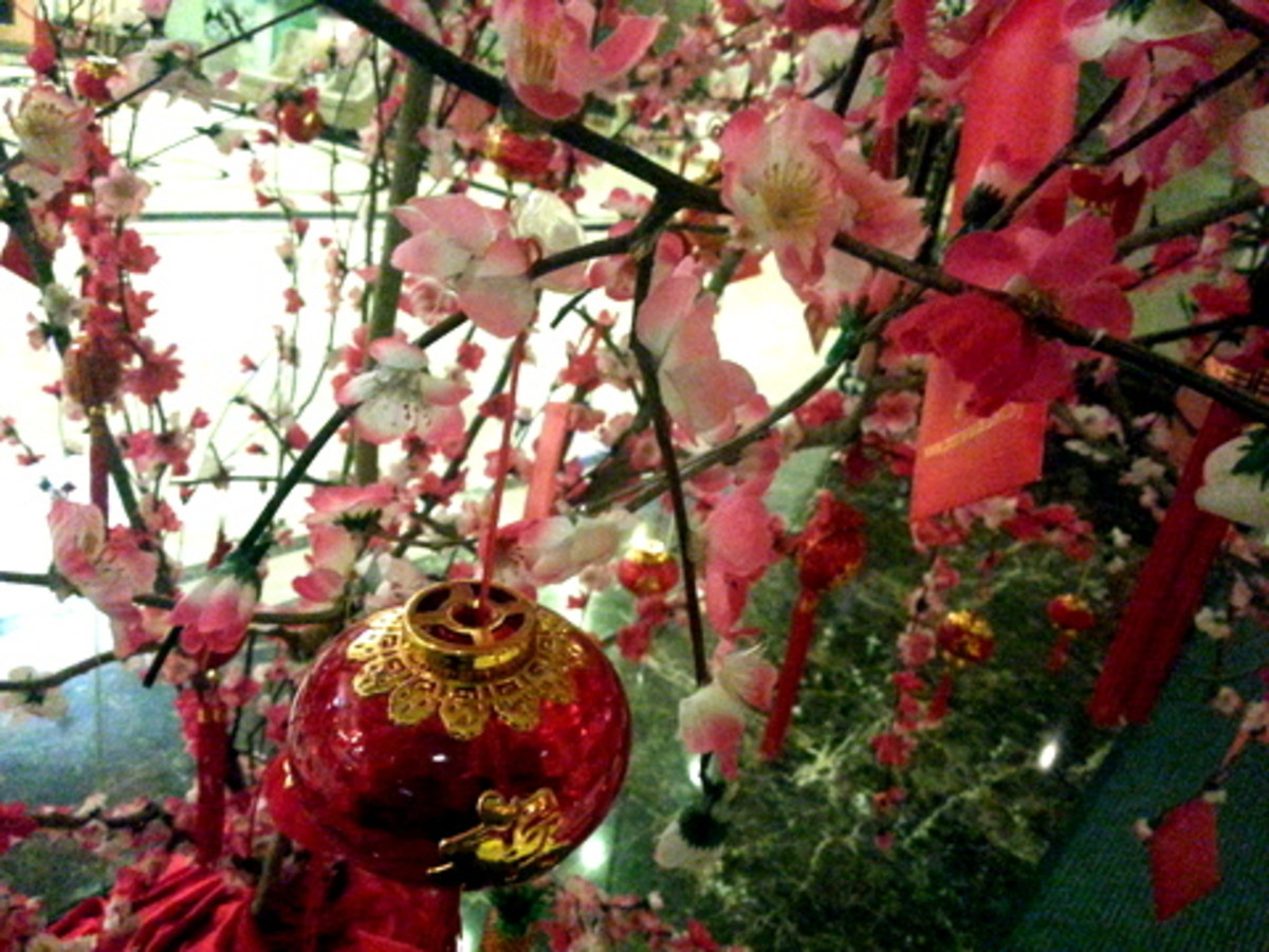 Artificial plum blossoms with Chinese New Year decoration, in a hotel in Malaysia