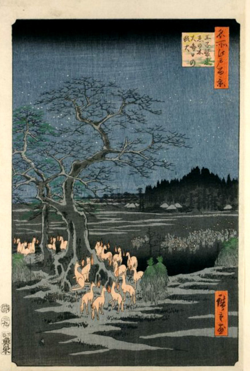 Hiroshige's Fox Fires on New Year's Eve at the Garment Nettle Tree at Oji