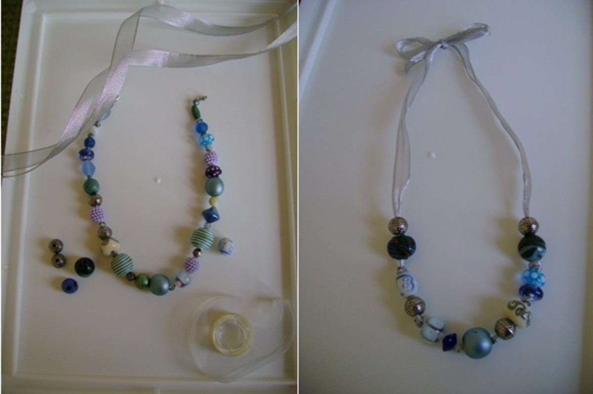 you can recycle beads from old jewelry into a new necklace   (c) purl3agony 2013