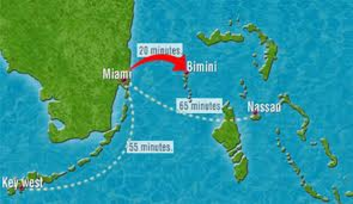 Map showing the location of the island of Bimini.
