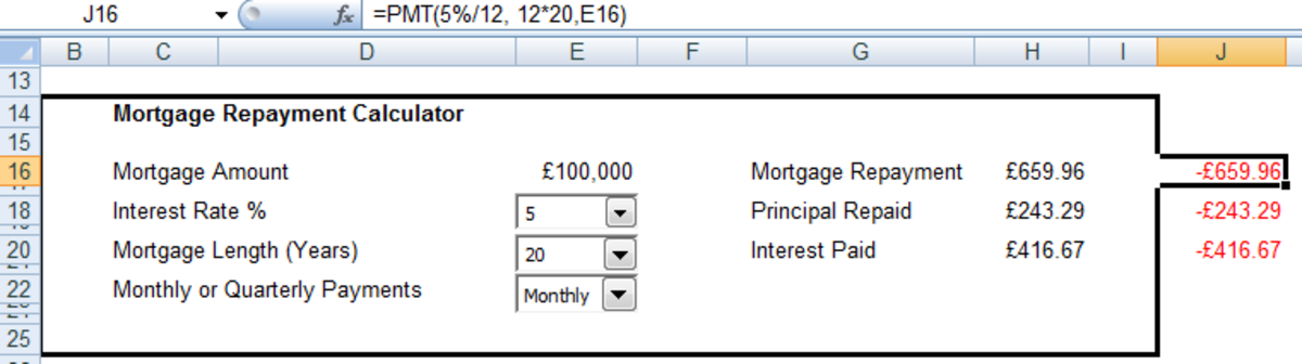 Example of the syntax of the PMT function used to calculate the overall mortgage repayment in Excel 2007 and Excel 2010.