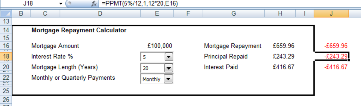 Syntax of the PPMT function used to calculate the Principal paid on a mortgage in Excel 2007 and Excel 2010.