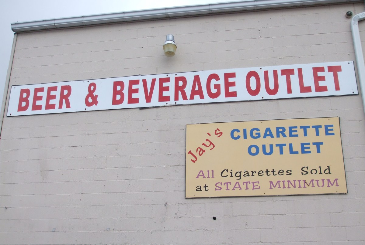 Cigarettes are often sold at beer distributorships.