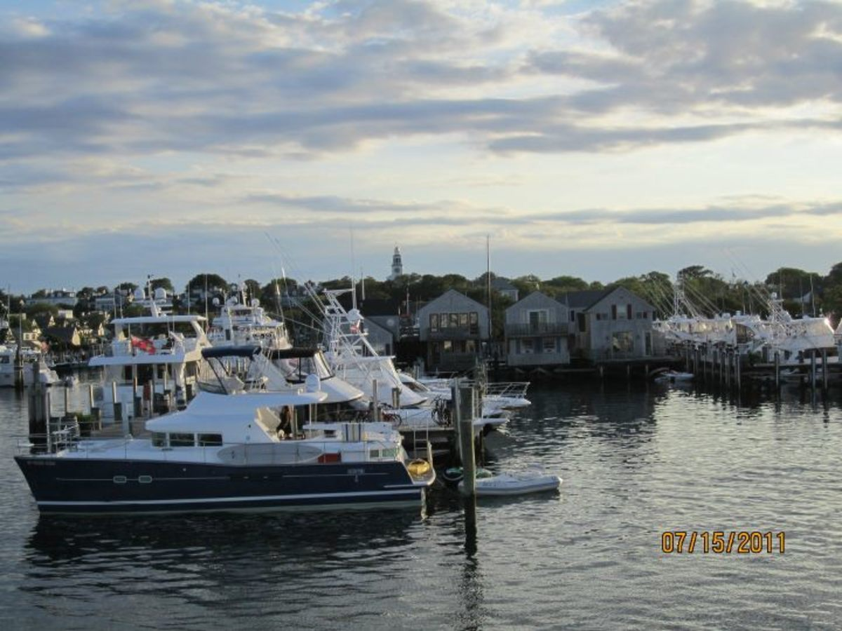 The view of Nantucket Harbor from our boat.