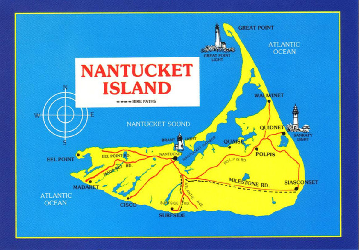 This a great map of the island and shows the layout. A great deal of town is located near Nantucket Harbor, but there are outer areas like Siasconset that you will want to visit. Notice the long bike path.