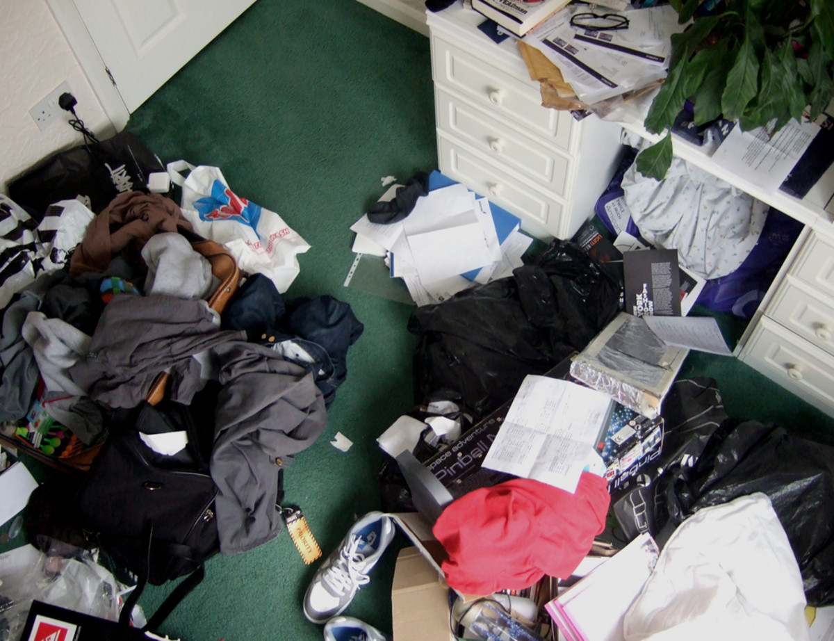 Piles are a great tool to help clean a room or downsize.