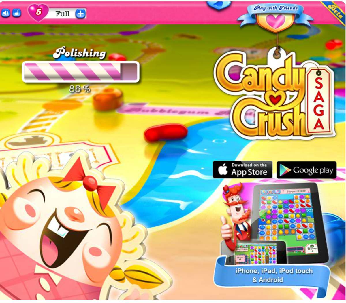 As you can see from my loading screen of Candy Crush Saga, I already have a full quota of lives, the next scrren after loading will offer me more lives from my friends which I would normally lose.