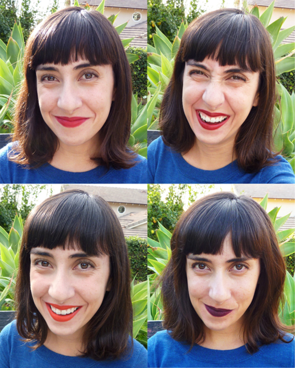 This is me in my favorite Nars Lipsticks. Clockwise from top left: Cruella, Fire Down Below, Train Bleu, Red Square