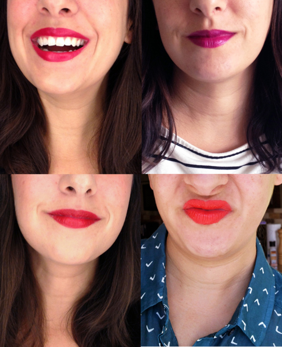 This is me in NYX Matte Lipstick. Clockwise from top left: Bloody Mary, Aria, Pure Red, Indie Flick.
