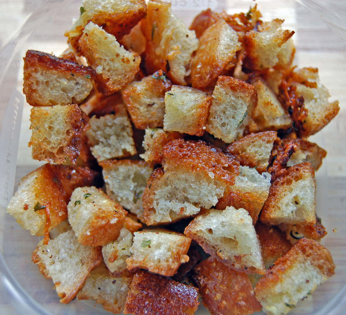 Hot Dog Bun croutons are delicious!