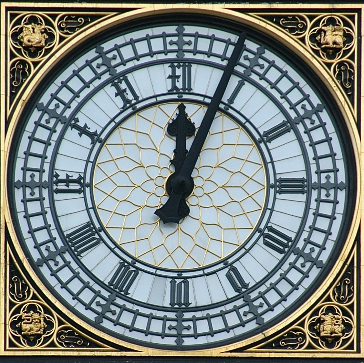 "The Clock face on the Tower at the Palace of Westminster (""Big Ben"")."