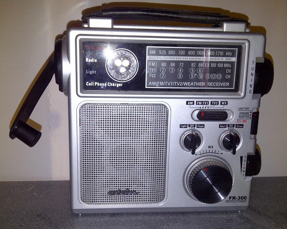 Eton emergency weather radio powered by battery or crank